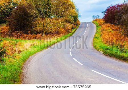 Autumn Countryside Road In Yorkshire Dales National Park, United Kingdom