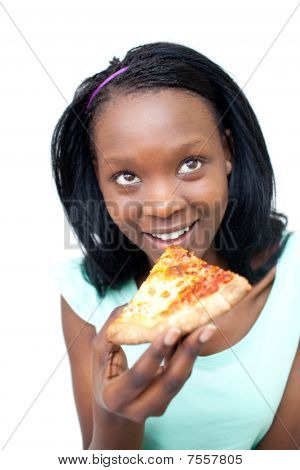 Smiling Teen Girl Eating A Pizza