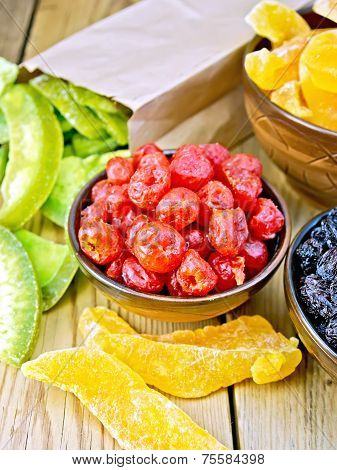 Candied cherries and other fruit in bowl on board