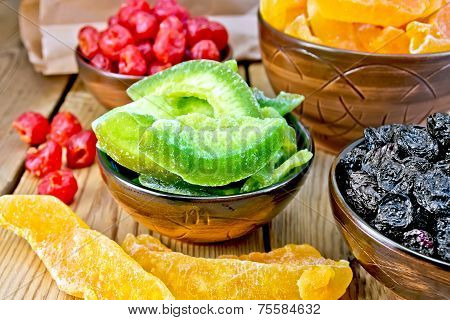 Candied pomelo and other fruits in bowl on board
