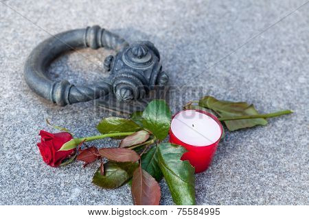 Tombstone With Single Rose