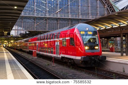 Regional Express Train In Frankfurt Am Main Station, Germany