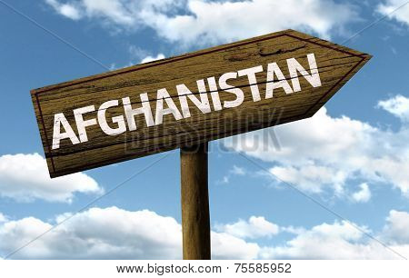 Afghanistan wooden sign on a beautiful day
