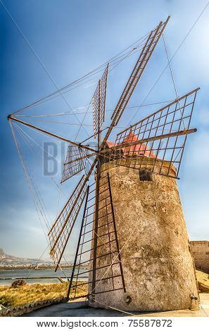 Old Windmill For Salt Production, Sicily