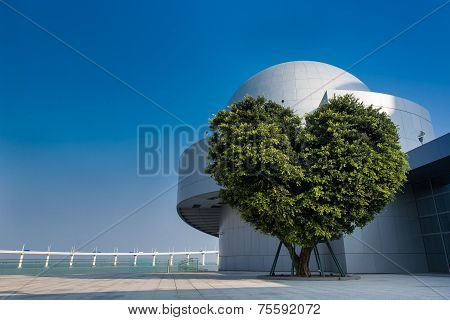 Macau, China: October 17, 2014: Science Museum Of Macau And The Tree Of Love As The Popular Landmark