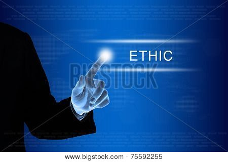 Business Hand Clicking Ethic Button On Touch Screen
