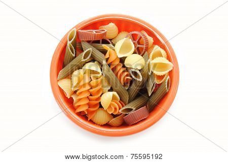 Uncooked Fancy Pasta Shapes In A Bowl