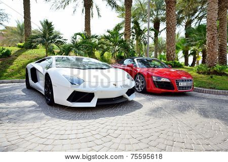 Dubai, Uae - September 11: The Atlantis The Palm Hotel And Luxury Sport Cars. It Is Located On Man-m