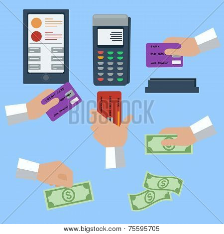 Icon set of cash and cashless payment methods