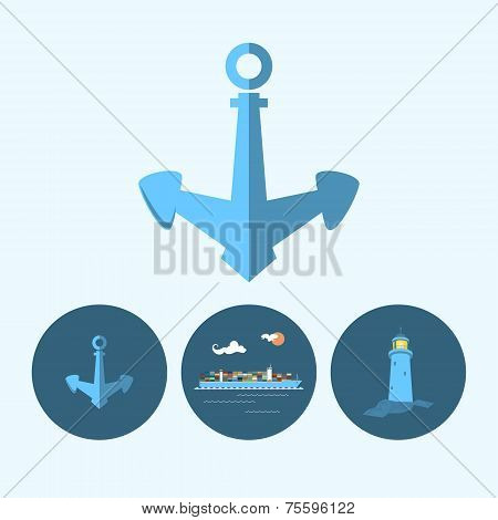 Set Icon With Anchor, Lighthouse And Cargo Container Ship, Vector Illustration