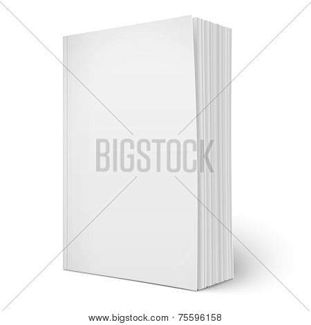 Blank vertical softcover book template with pages.