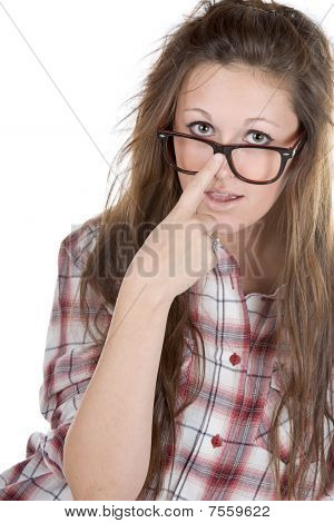 Cute Teenager Geek Against White Background
