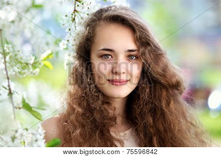 Cute Smiling Girl Outdoors, Sunny Spring Portrait Young Girl