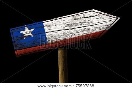 Chile wooden sign isolated on black background