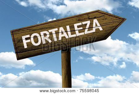 Fortaleza, Brazil wooden sign on a beautiful day