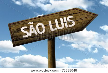 Sao Luis, Brazil wooden sign on a beautiful day