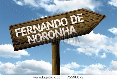 Fernando de Noronha, Brazil wooden sign on a beautiful day