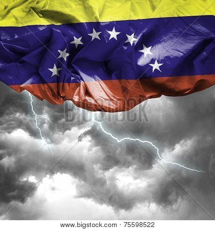 Venezuela waving flag on a bad day
