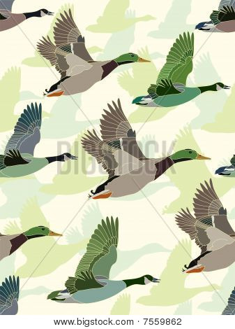 Seamless Background With Geese And Ducks