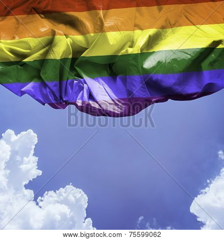 LGBT waving flag on a beautiful day