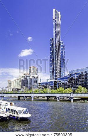 MELBOURNE, AUSTRALIA - CIRCA JAN 2014: Melbourne Skyscrapers. Melbourne was crowned the most liveable city 2013 in Economist Intelligence Unit Survey.