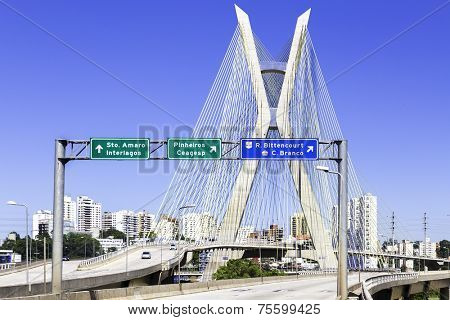 Octavio Frias Bridge in Sao Paulo, Brazil