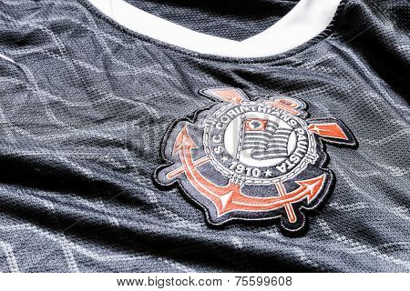 SAO PAULO, BRAZIL - CIRCA AUG 2014: Corinthians soccer logo on an official jersey.