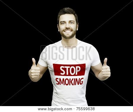 Campaign Stop Smoking by a man on black background