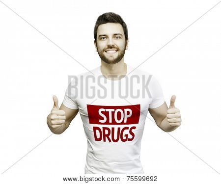 Campaign against Drugs by a man on white background