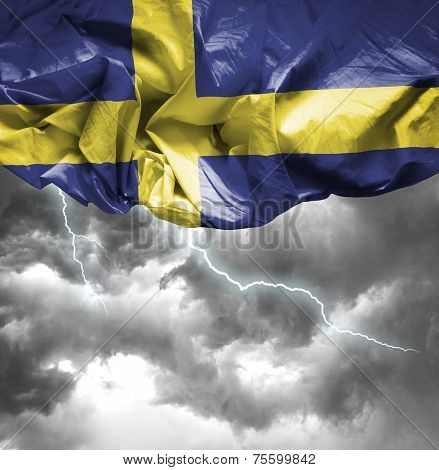 Sweden waving flag on a bad day