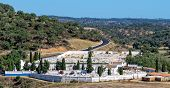 stock photo of burial-vault  - Photo of Catholic Cemetery near Small Town Portugal - JPG