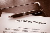 stock photo of deceased  - A Last Will and testament document with pen - JPG