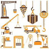 stock photo of derrick  - construction crane icons with brown and orange theme - JPG