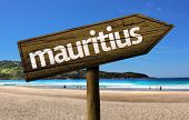 picture of mauritius  - Mauritius wooden sign with a beach on background  - JPG