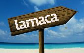 picture of larnaca  - Larnaca wooden sign with a beach on background - JPG