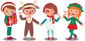 Постер, плакат: Children Celebrating Christmas In Christmas Costumes
