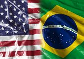 stock photo of bandeiras  - Flag symbolizing the relationship between USA and Brazil  - JPG