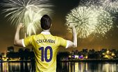 stock photo of medellin  - Colombian soccer player celebrates the victory after the match - JPG