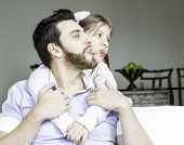 picture of daddy  - Daddy with his daughter having fun together - JPG