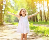 picture of have sweet dreams  - Positive charming curly little girl enjoying summer sunny day expression emotions having fun happy child walking in summer day - JPG