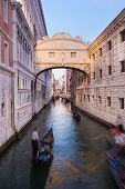 pic of gondola  - Gondolas passing under Bridge of Sighs - JPG