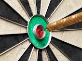 pic of bullseye  - Closeup of a dart sitting in the bullseye of the board - JPG