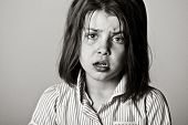 picture of school bullying  - Powerful Black and White Shot of a Young Schoolgirl - JPG