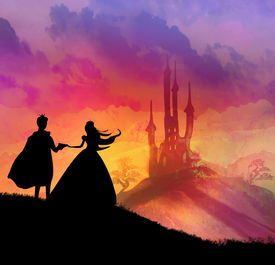 stock photo of moon silhouette  - Magic castle and romantic couple silhouette princess with prince at sunset  - JPG