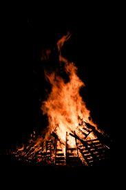 image of guy fawks  - Guy Fawkes Night bonfire burning at night - JPG