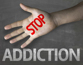 pic of crack addiction  - Educational and Creative composition with the message Stop Addiction on the blackboard - JPG