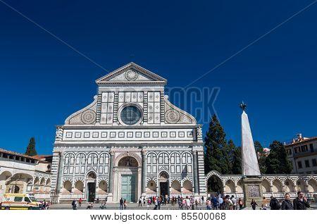Tourists Near Basilica Of Santa Maria Novella, Florence, Italy.