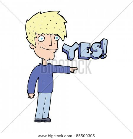 cartoon man saying yes
