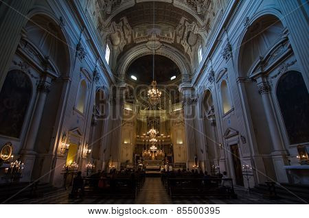 Interior Of Thesanta Maria Del Carmine In Florence, Italy.