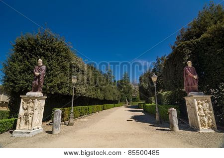 Two Ancient Sculptures In The Boboli Gardens. Florence, Italy.